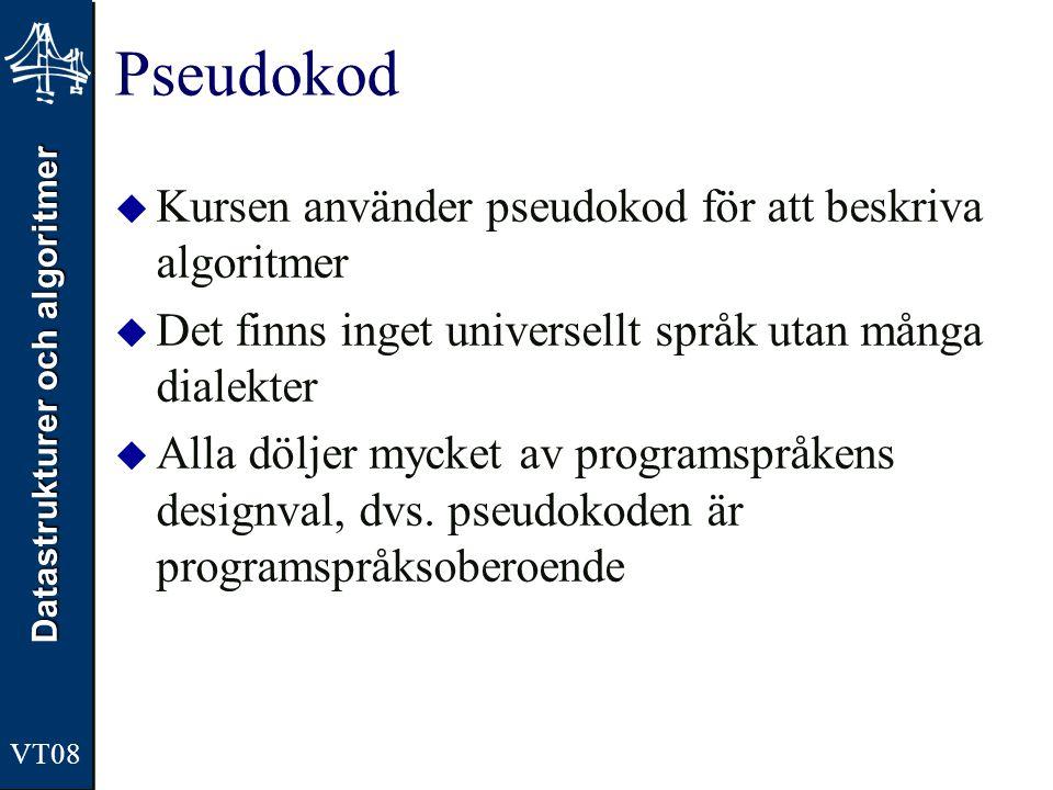Pseudokod Kursen använder pseudokod för att beskriva algoritmer