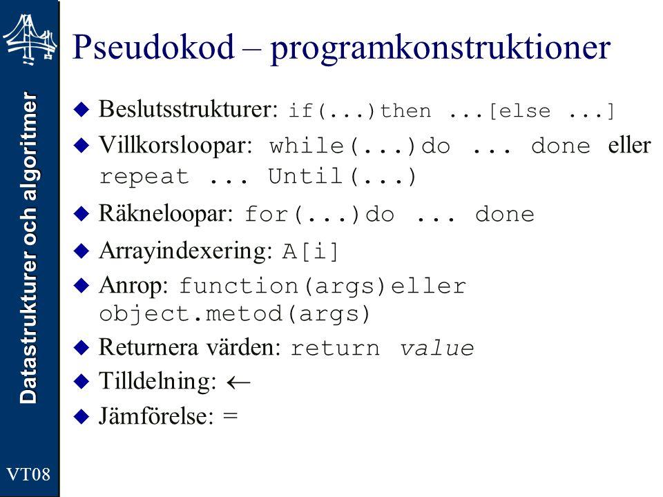 Pseudokod – programkonstruktioner