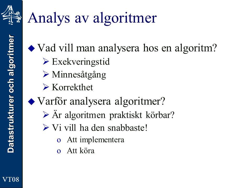 Analys av algoritmer Vad vill man analysera hos en algoritm