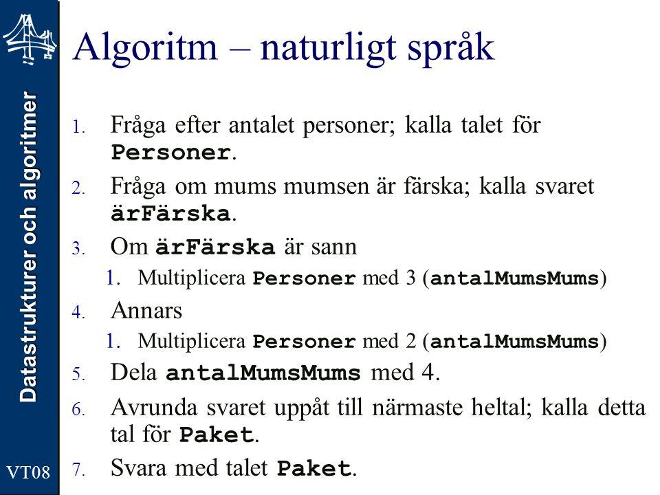 Algoritm – naturligt språk