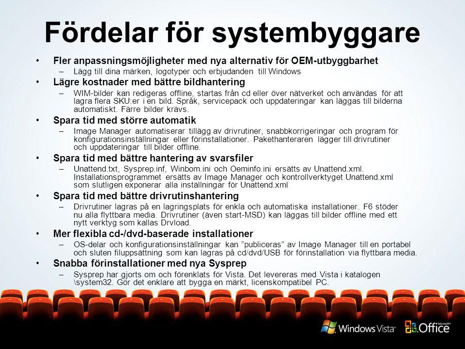 Fördelar för systembyggare