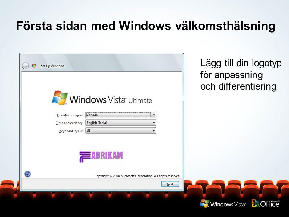 Första sidan med Windows välkomsthälsning
