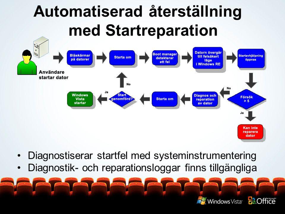 Automatiserad återställning med Startreparation