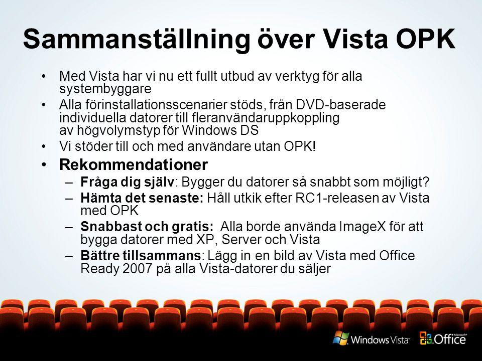 Sammanställning över Vista OPK