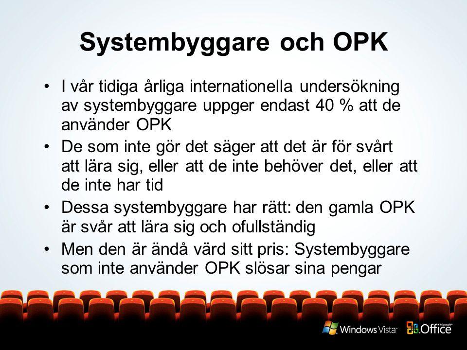 Systembyggare och OPK I vår tidiga årliga internationella undersökning av systembyggare uppger endast 40 % att de använder OPK.