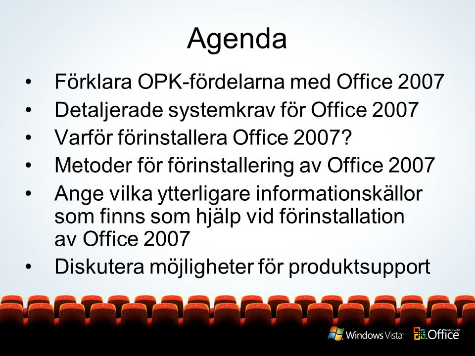 Agenda Förklara OPK-fördelarna med Office 2007