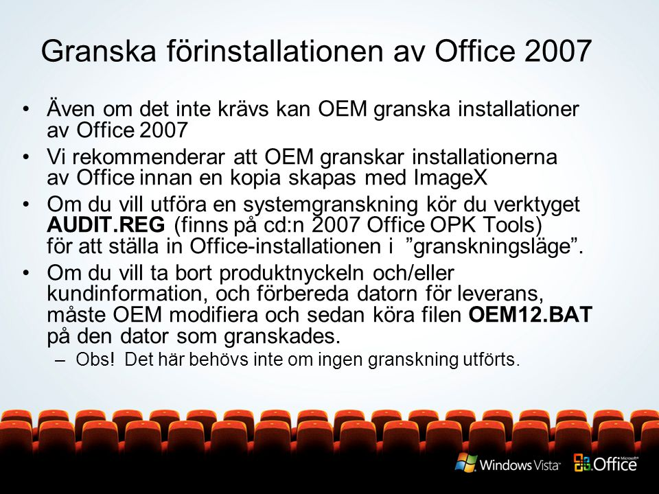 Granska förinstallationen av Office 2007