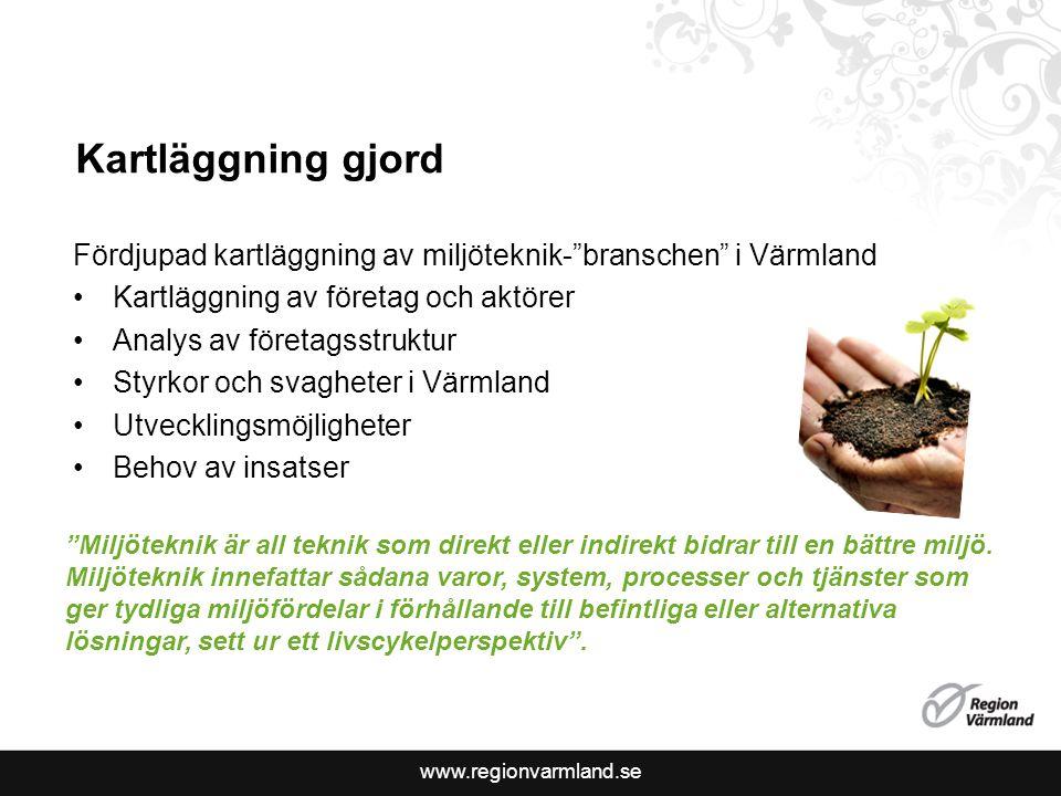 Kartläggning gjord Fördjupad kartläggning av miljöteknik- branschen i Värmland. Kartläggning av företag och aktörer.
