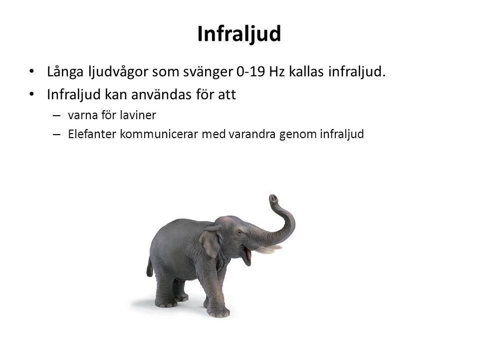 Infraljud Långa ljudvågor som svänger 0-19 Hz kallas infraljud.