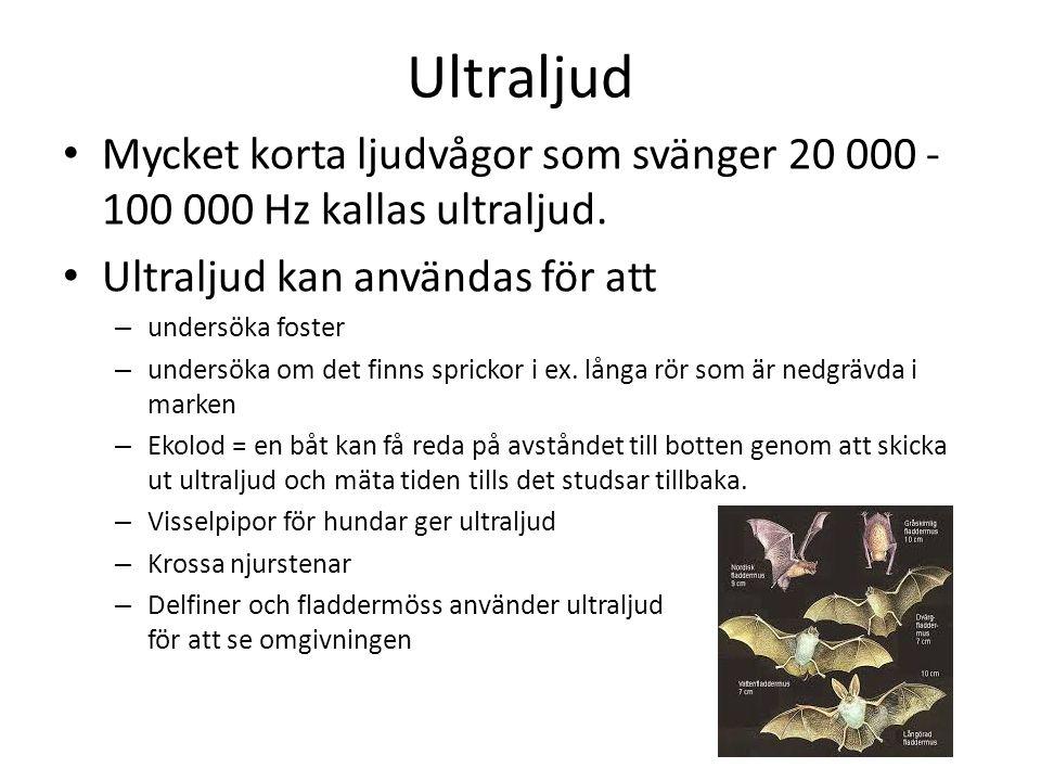 Ultraljud Mycket korta ljudvågor som svänger 20 000 -100 000 Hz kallas ultraljud. Ultraljud kan användas för att.