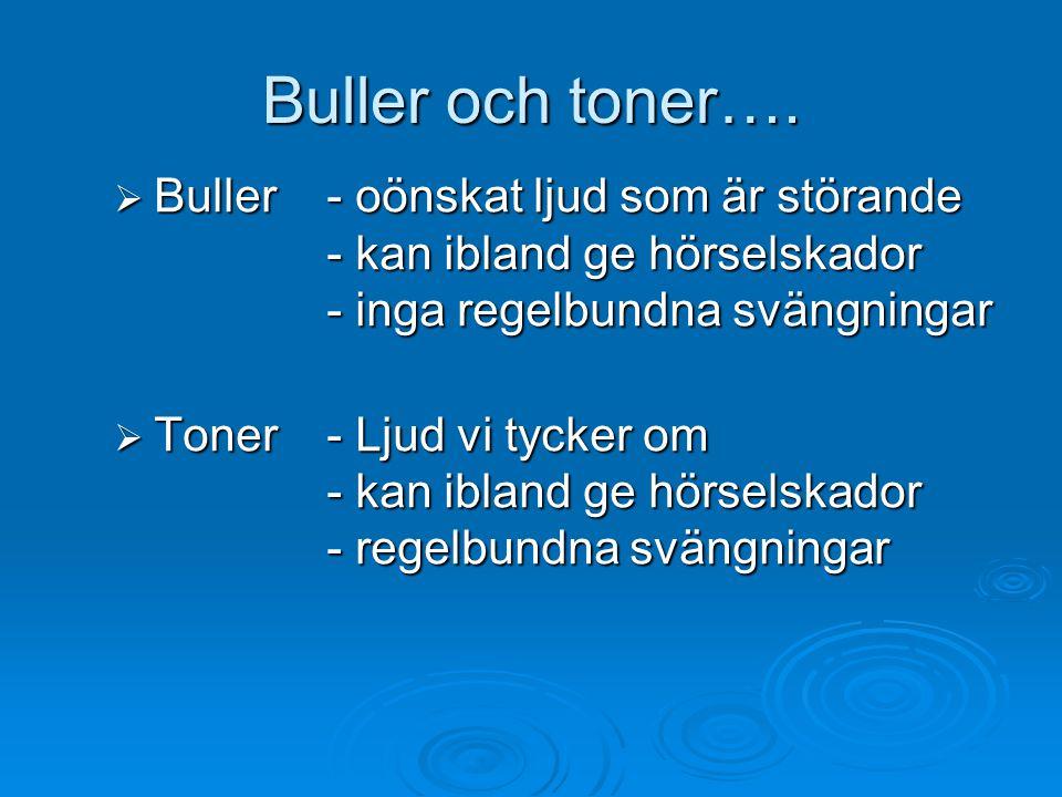 Buller och toner…. Buller - oönskat ljud som är störande - kan ibland ge hörselskador - inga regelbundna svängningar.