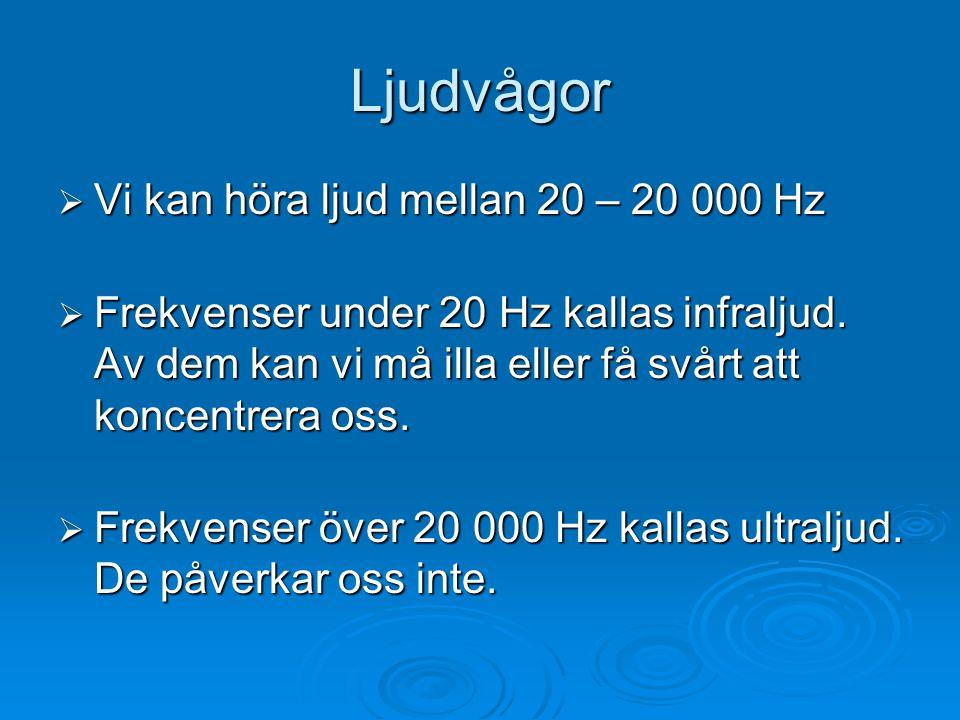 Ljudvågor Vi kan höra ljud mellan 20 – 20 000 Hz