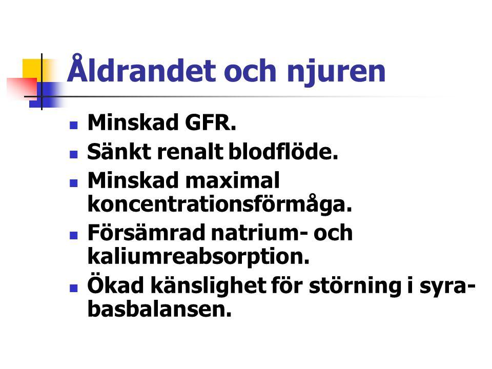 Åldrandet och njuren Minskad GFR. Sänkt renalt blodflöde.