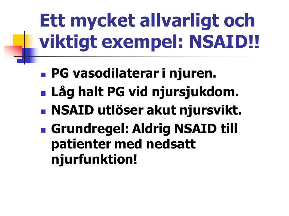 Ett mycket allvarligt och viktigt exempel: NSAID!!