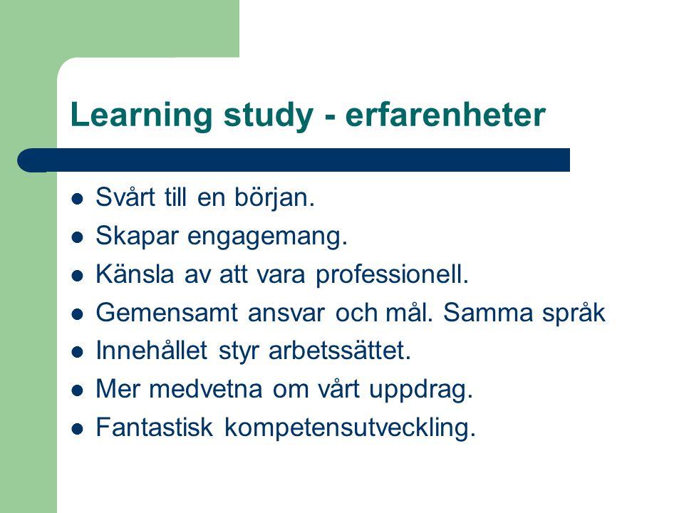 Learning study - erfarenheter