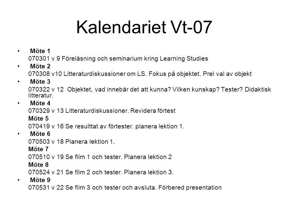 Kalendariet Vt-07 Möte 1. 070301 v 9 Föreläsning och seminarium kring Learning Studies. Möte 2.