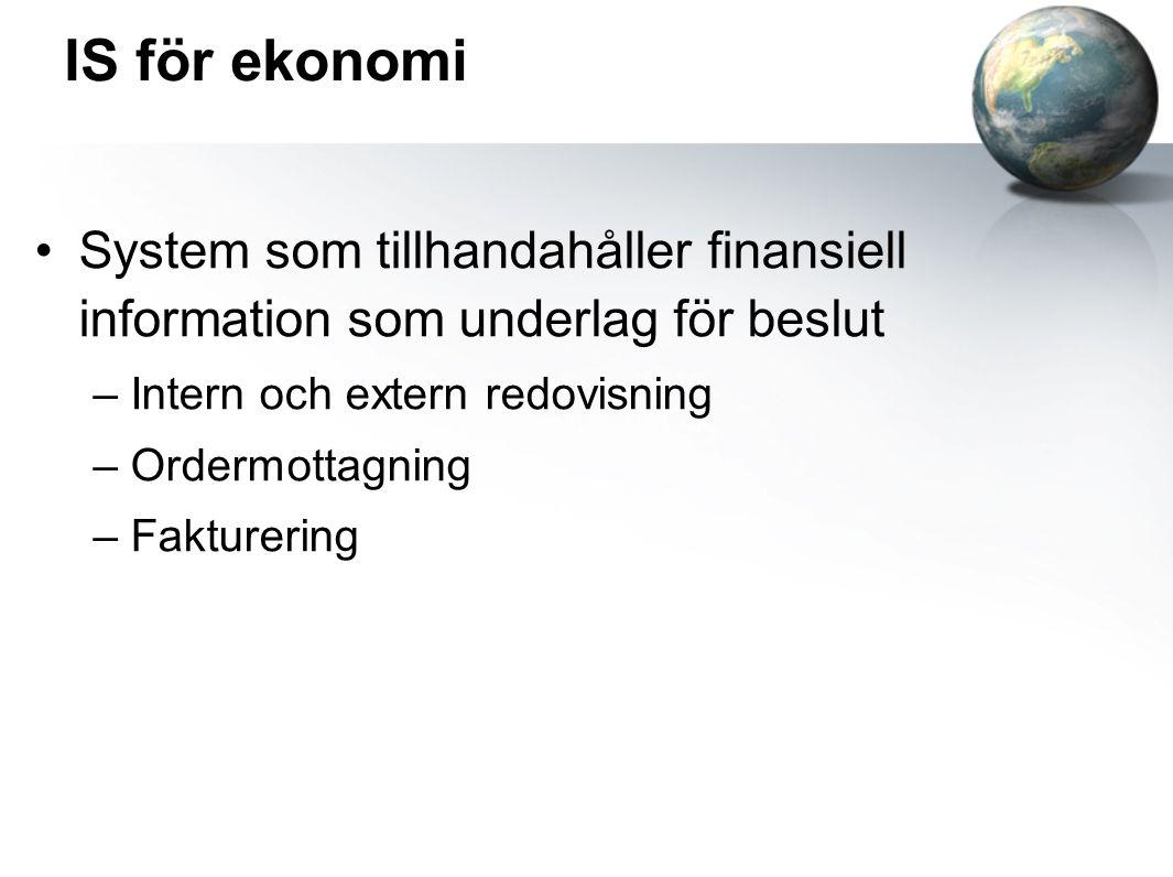IS för ekonomi System som tillhandahåller finansiell information som underlag för beslut. Intern och extern redovisning.
