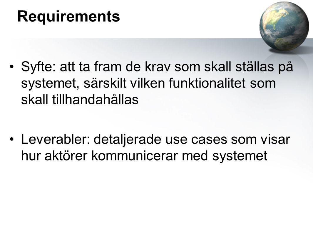 Requirements Syfte: att ta fram de krav som skall ställas på systemet, särskilt vilken funktionalitet som skall tillhandahållas.