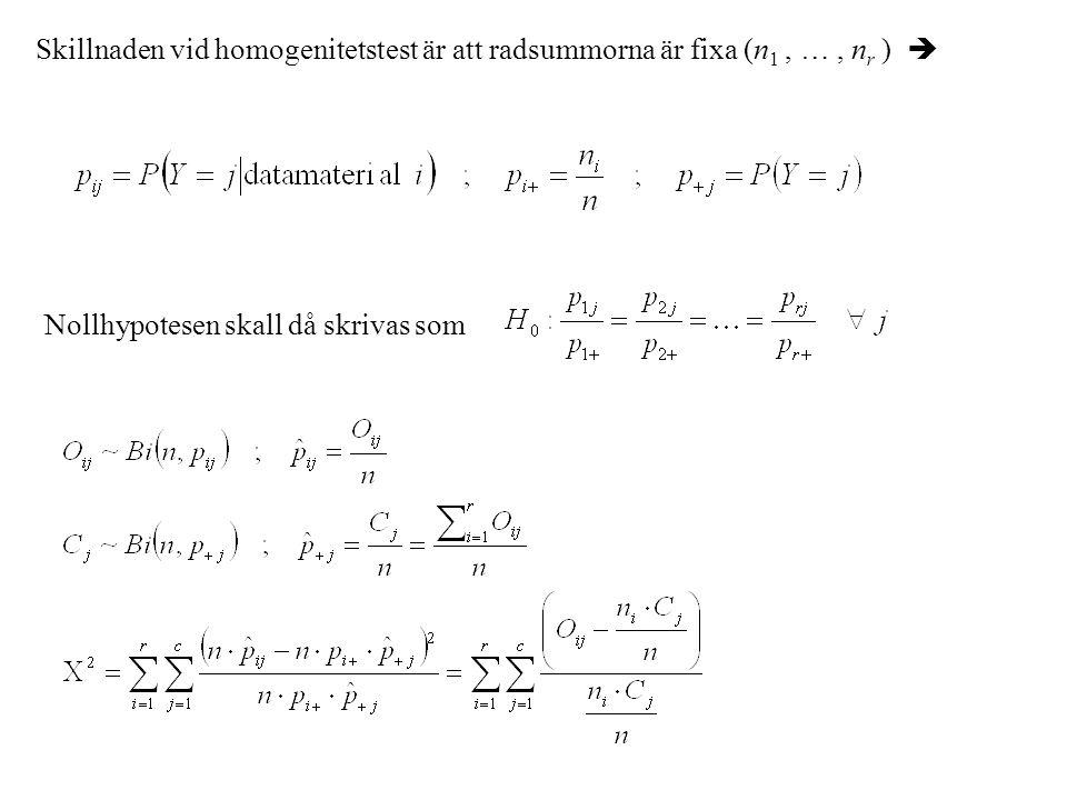 Skillnaden vid homogenitetstest är att radsummorna är fixa (n1 , … , nr ) 