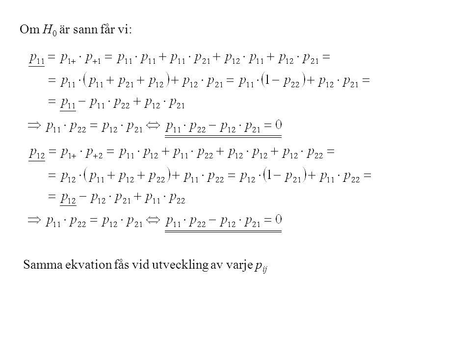 Om H0 är sann får vi: Samma ekvation fås vid utveckling av varje pij