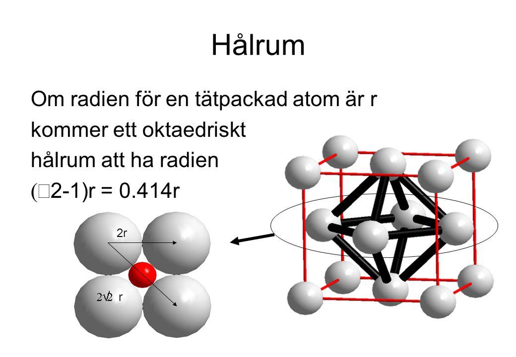 Hålrum Om radien för en tätpackad atom är r kommer ett oktaedriskt