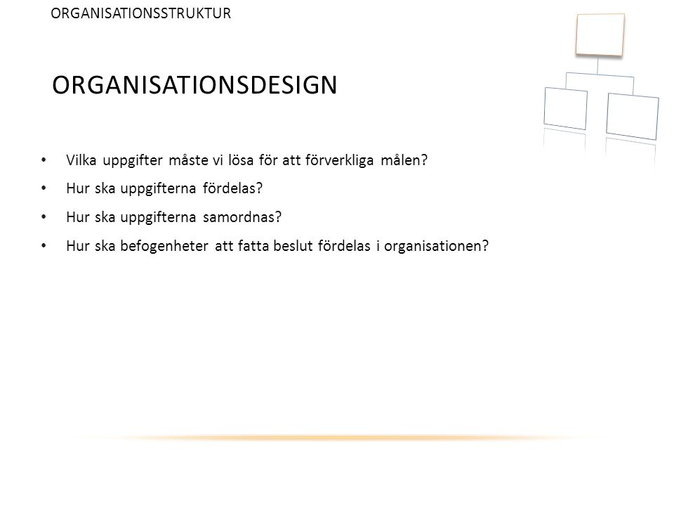Organisationsdesign ORGANISATIONSSTRUKTUR
