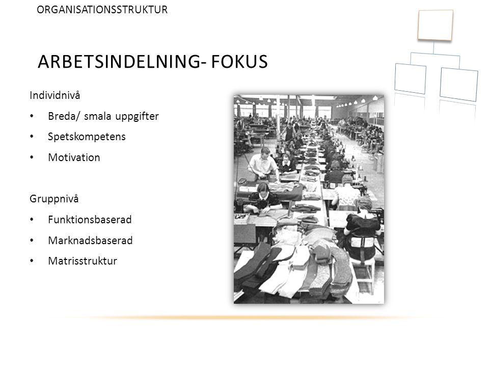 Arbetsindelning- FOKUS