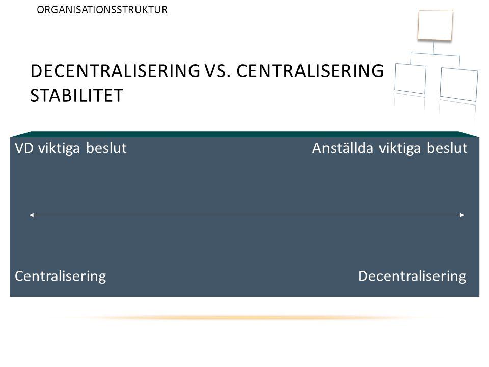DECENTRALISERING VS. CENTRALISERING STABILITET