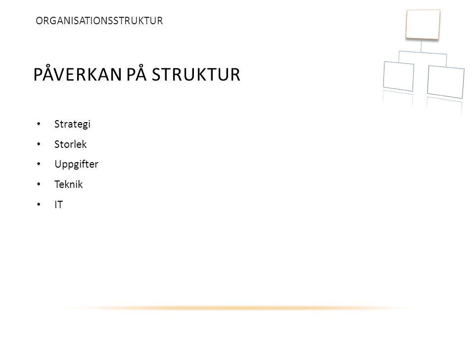 Påverkan på struktur ORGANISATIONSSTRUKTUR Strategi Storlek Uppgifter