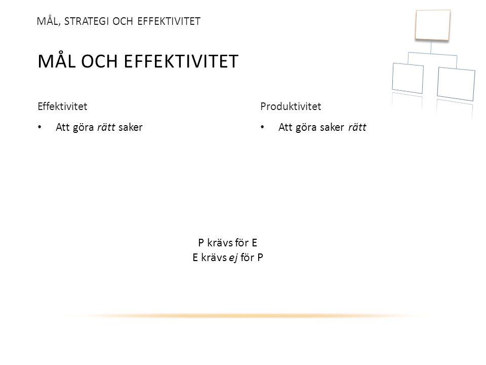 Mål och effektivitet P krävs för E E krävs ej för P