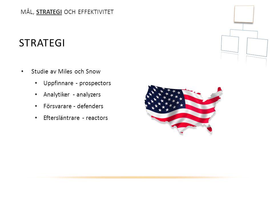 Strategi MÅL, STRATEGI OCH EFFEKTIVITET Studie av Miles och Snow