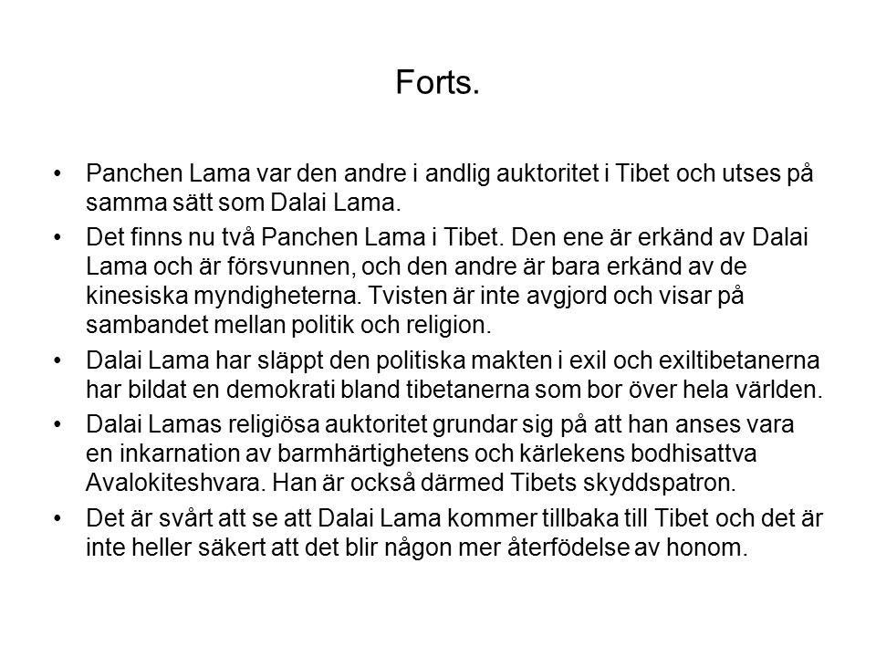 Forts. Panchen Lama var den andre i andlig auktoritet i Tibet och utses på samma sätt som Dalai Lama.