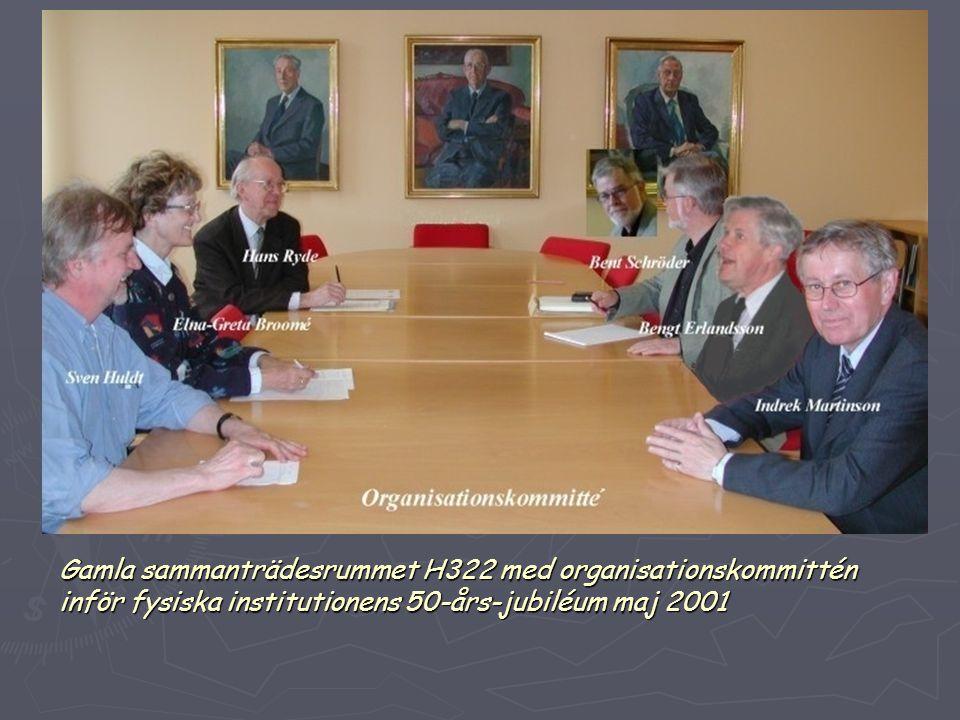 Gamla sammanträdesrummet H322 med organisationskommittén inför fysiska institutionens 50-års-jubiléum maj 2001