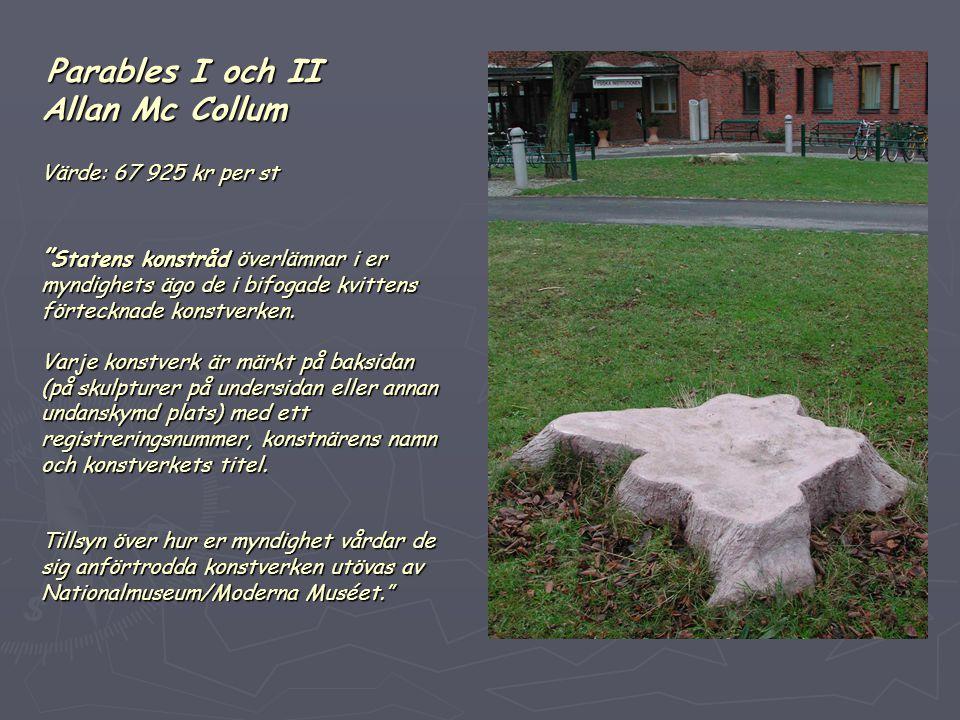 Parables I och II Allan Mc Collum Värde: 67 925 kr per st Statens konstråd överlämnar i er myndighets ägo de i bifogade kvittens förtecknade konstverken.