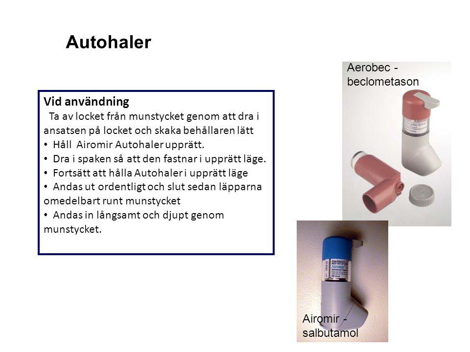 Autohaler Aerobec - beclometason. Vid användning Ta av locket från munstycket genom att dra i ansatsen på locket och skaka behållaren lätt.