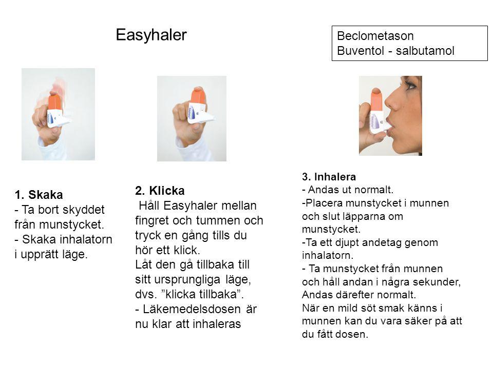 Easyhaler Beclometason Buventol - salbutamol 2. Klicka 1. Skaka