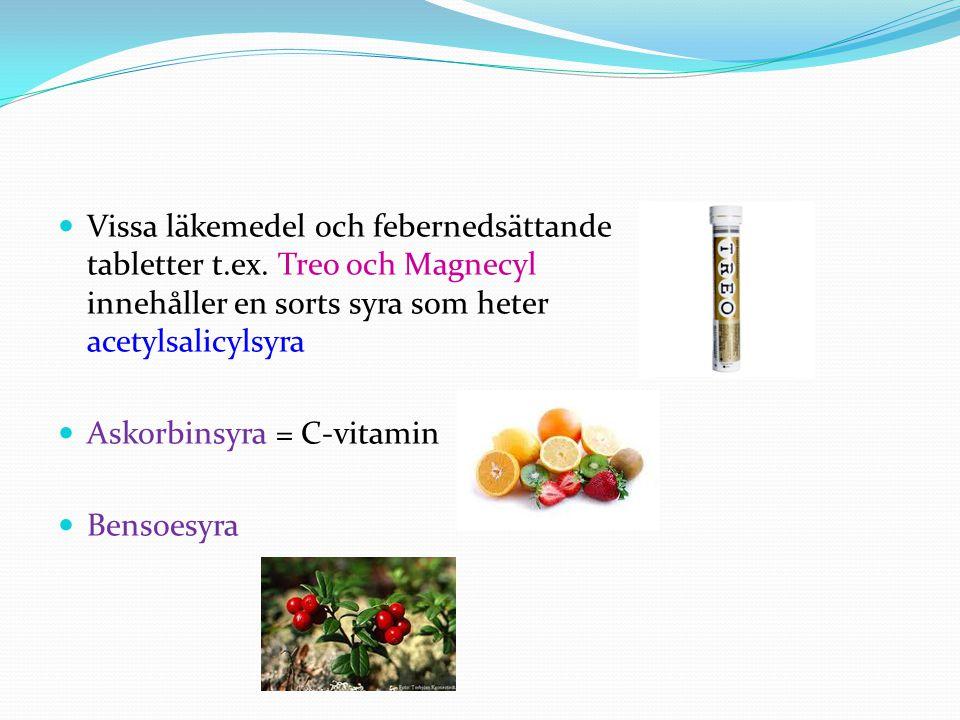 Vissa läkemedel och febernedsättande tabletter t. ex