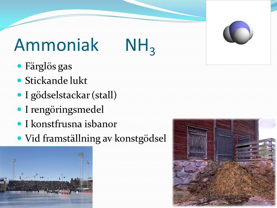 Ammoniak NH3 Färglös gas Stickande lukt I gödselstackar (stall)