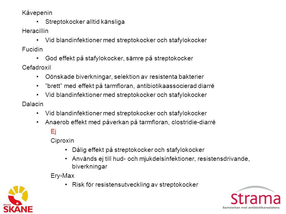 Kåvepenin Streptokocker alltid känsliga. Heracillin. Vid blandinfektioner med streptokocker och stafylokocker.