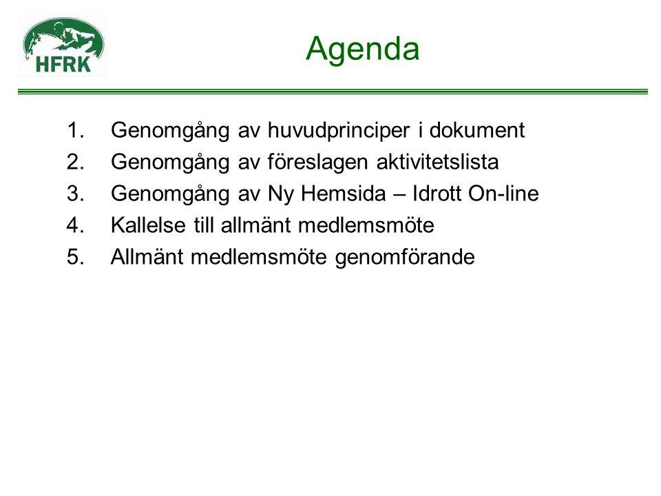 Agenda Genomgång av huvudprinciper i dokument