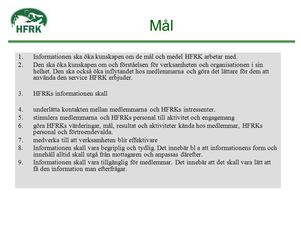 Mål Informationen ska öka kunskapen om de mål och medel HFRK arbetar med.
