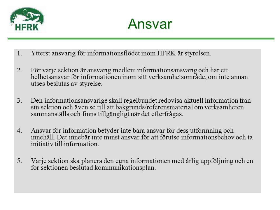 Ansvar Ytterst ansvarig för informationsflödet inom HFRK är styrelsen.