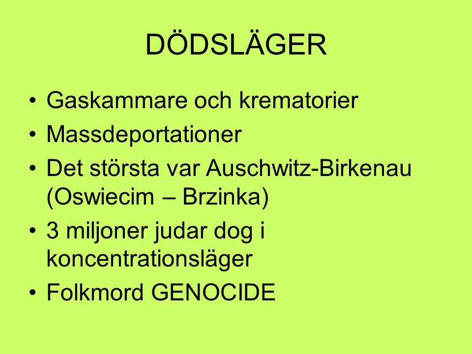 DÖDSLÄGER Gaskammare och krematorier Massdeportationer