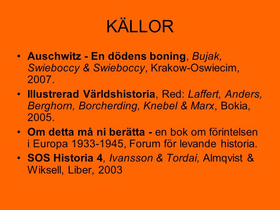 KÄLLOR Auschwitz - En dödens boning, Bujak, Swieboccy & Swieboccy, Krakow-Oswiecim, 2007.