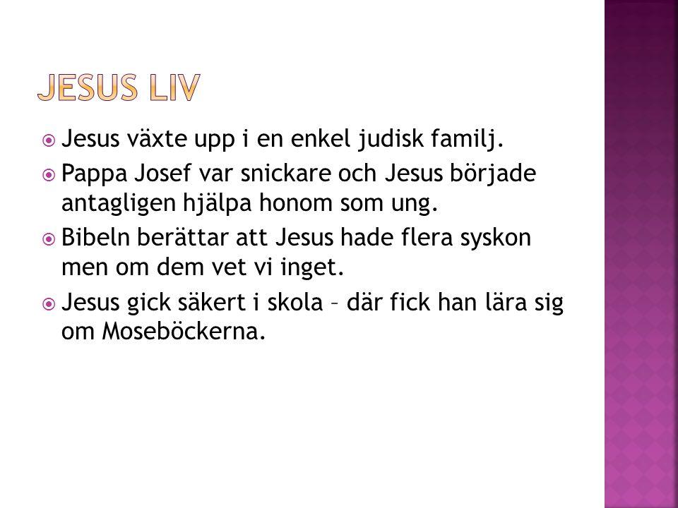 Jesus liv Jesus växte upp i en enkel judisk familj.