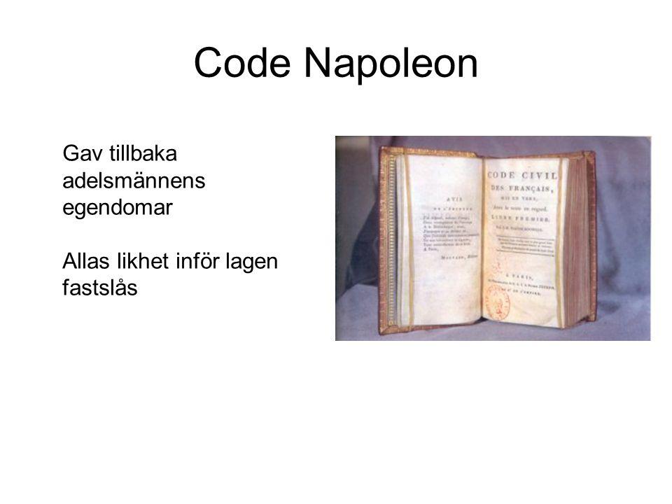 Code Napoleon Gav tillbaka adelsmännens egendomar