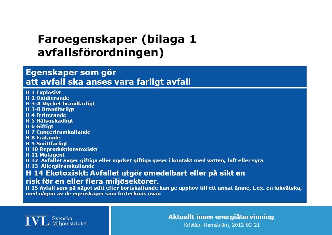 Faroegenskaper (bilaga 1 avfallsförordningen)