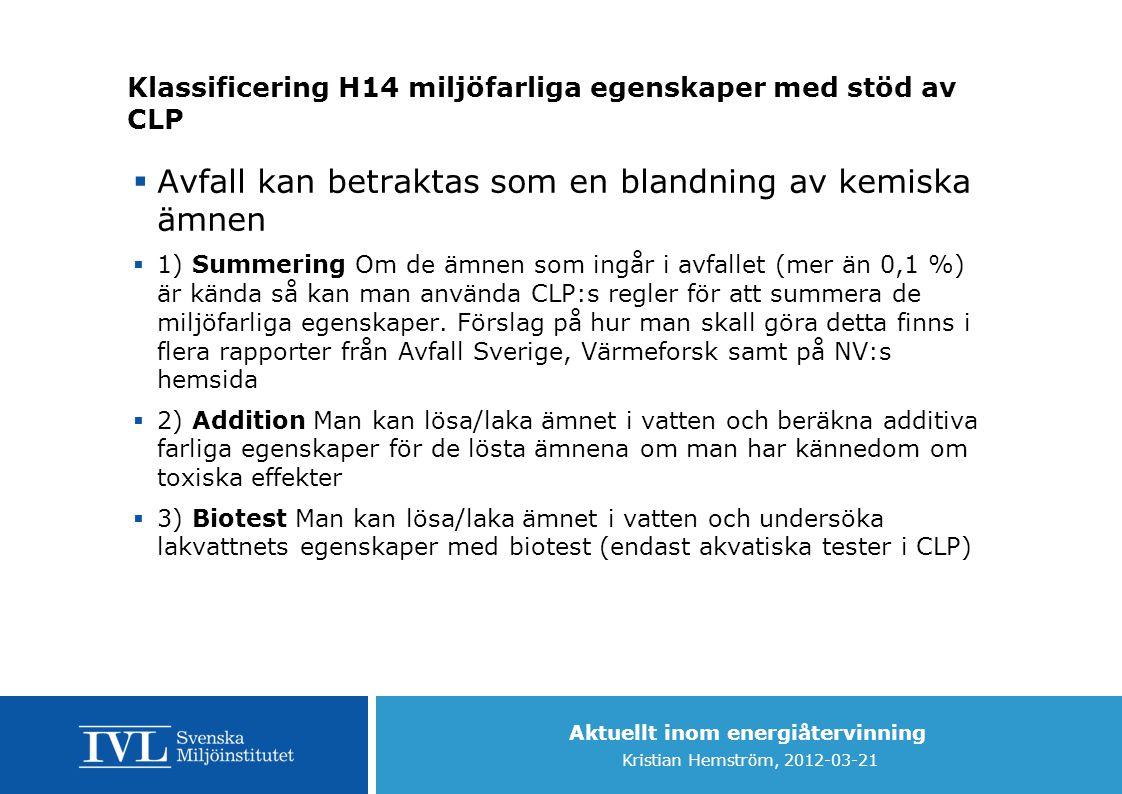Klassificering H14 miljöfarliga egenskaper med stöd av CLP