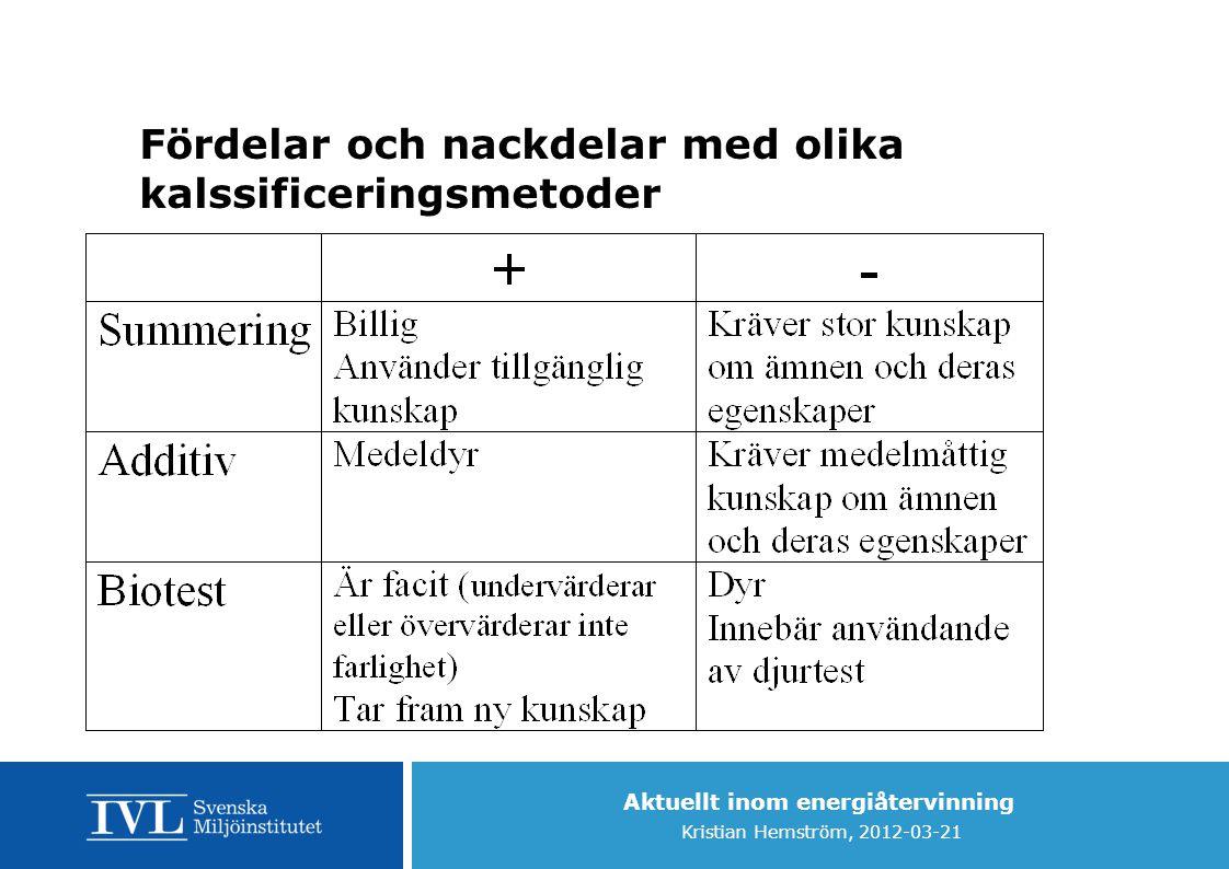 Fördelar och nackdelar med olika kalssificeringsmetoder