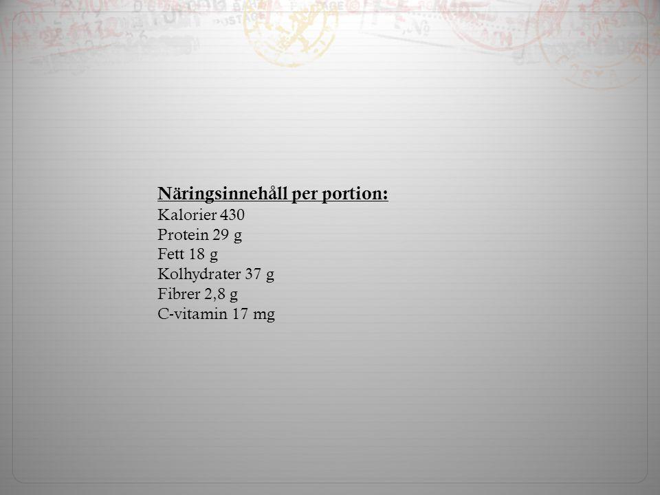 Näringsinnehåll per portion: